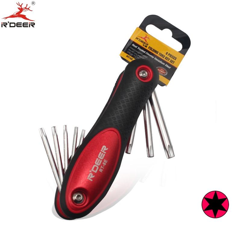 RDEER Torx-schlüssel Schraubenschlüssel Schraubendreher CR-V T9 T10 T15 T20 T25 T27 T30 T40 Ringschlüssel Falten Hand werkzeuge