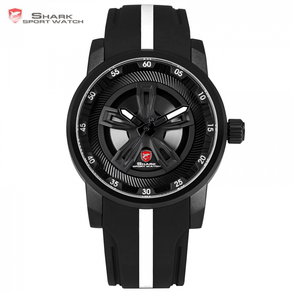 Thresher SHARK Sport Watch Men New Brand Luxury Racing Wheel Design Quartz Silicone Band Watches Waterproof Relogio Gift /SH501