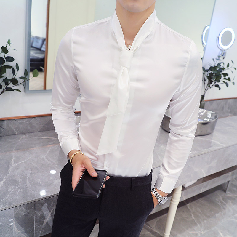 Shirt Men Korean Autumn Brand New Sexy Bow Neck Tuxedo Shirt Slim Fit Long Sleeve Solid Dress Shirts Social Men Clothes 5XL
