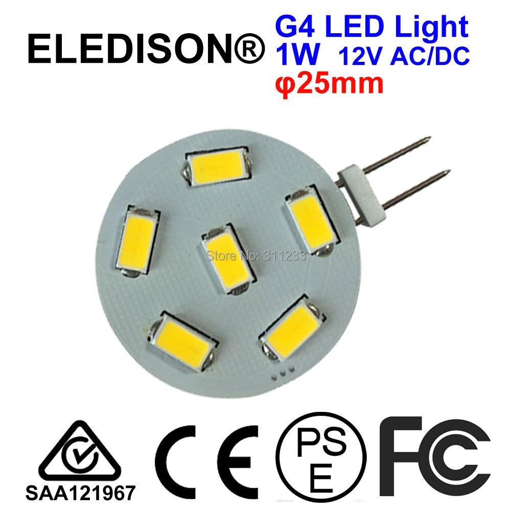 Round G4 LED Light Bulb 1W Diameter 25mm 12-24V AC DC 120LM Kitchen Light LED Cabinet Light Bulb Outdoor Underground Light