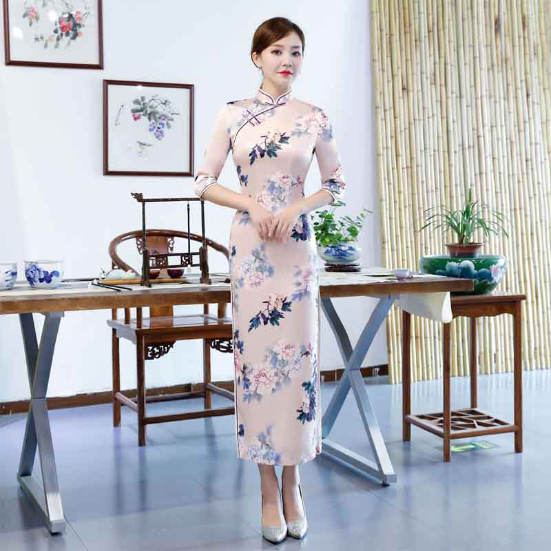 2019 automne Sexy longue Qipao robe femmes traditionnel chinois vêtements Vintage mode douce fille Forking Cheongsams robe