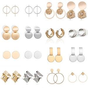 Brincos geométricos para mulheres, joia quadrada redonda dourada e prateada