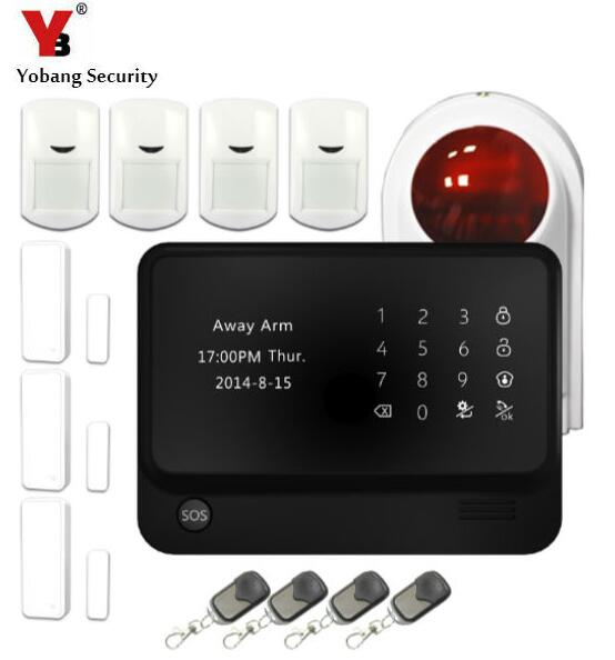 YobangSecurity Touch Keypad Wireless Home WIFI GSM Alarm System Android IOS APP Control Outdoor Flash Siren PIR Alarm Sensor yobangsecurity wifi alarm system wireless flash siren gsm burglar alarm g90b touch keypad app pir detector door gap sensor