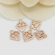 6PCS 10x12MM 24K Champagne Gold Color Plated Brass Rhombus Shape Charms and Pendants High Quality Diy Jewelry Accessories