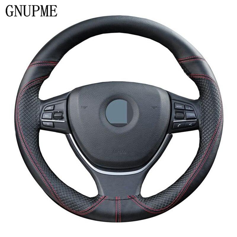 GNUPME DIY Echt Leer Auto Stuurhoes Soft Anti slip 100% Koeienhuid Vlecht Met Naalden Discussie 38 cm Steering covers