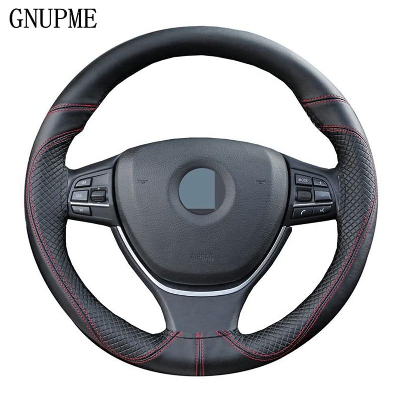 GNUPME DIY de la cubierta del volante del coche del cuero suave slip 100% de piel de vaca de trenza con agujas hilo 38 cm de dirección cubre
