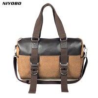 d7f43575d5b NIYOBO Large Capacity Vintage Canvas Men Handbag Luggage Travel Duffle Bags  Leather Suitcases Weekend Shoulder Bag
