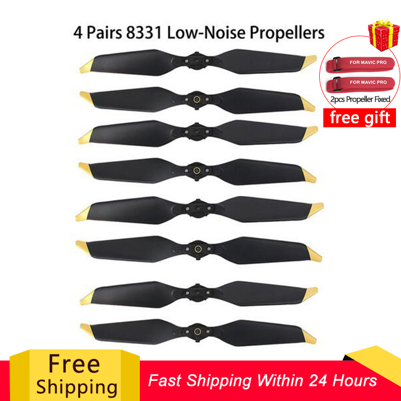 8PC 4 Pairs 8331 Low Noise Propellers FOR Mavic Pro Platinum Quick-Release   Golden Silver   for dji Mavic Pro Drone Accessories