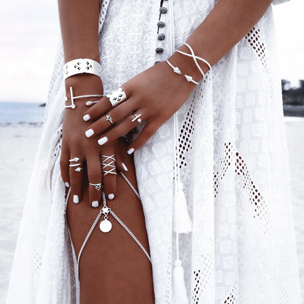 8Pcs Women Boho Vintage Popular Antique Silver Knuckle Midi Mid Finger rings
