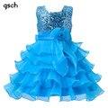 Meninas Vestidos de Roxo Azul Do Partido Dos Miúdos Roupas ropa de ninas Meninas de Flor da princesa vestidos de Casamento vestido De tutu de Lantejoulas robe fille