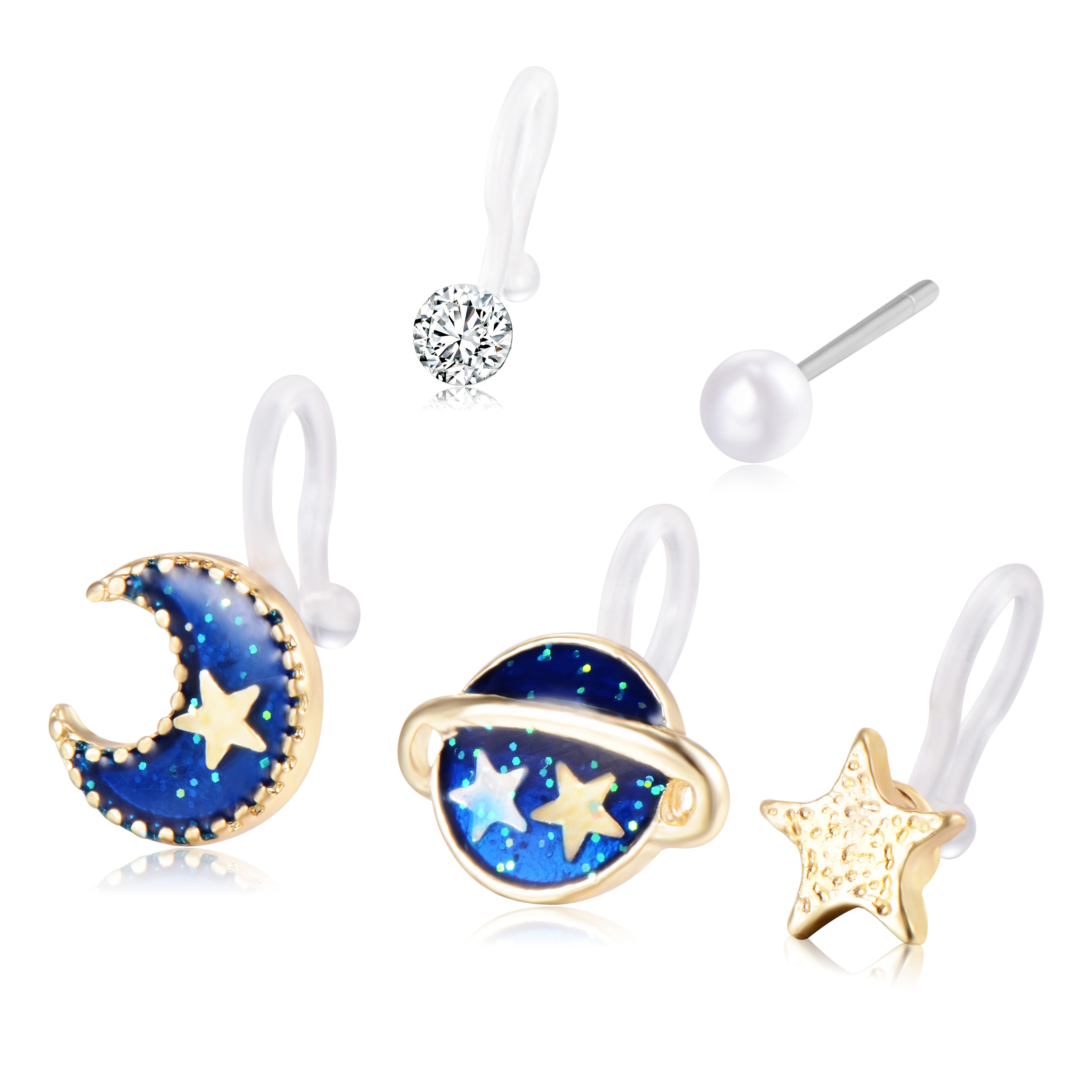 5set Charm 2017 New Girl Kids Crystal Pearl Planet Star Moon Gold Color Clip  Earrings Classic