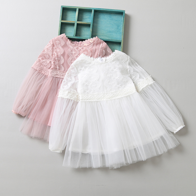 2f44fb810 2017 Baby Girls Spring Long Sleeve Embroidery Mesh Dresses