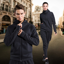 2 piece Spring and autumn winter type men sport suit women running sportswear Hoody running thickened young lovers