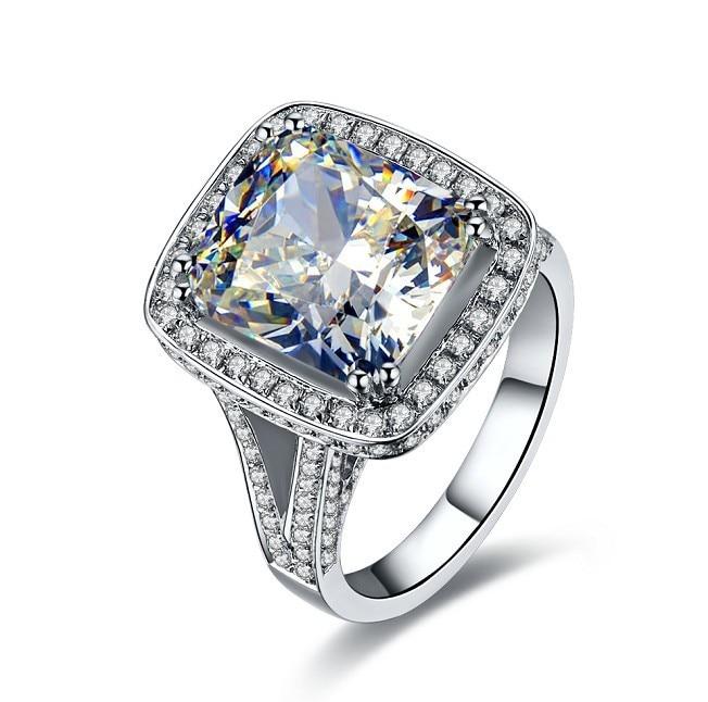 14K White Gold 8Ct Simulate Diamond Rings Luxury Brilliant Women