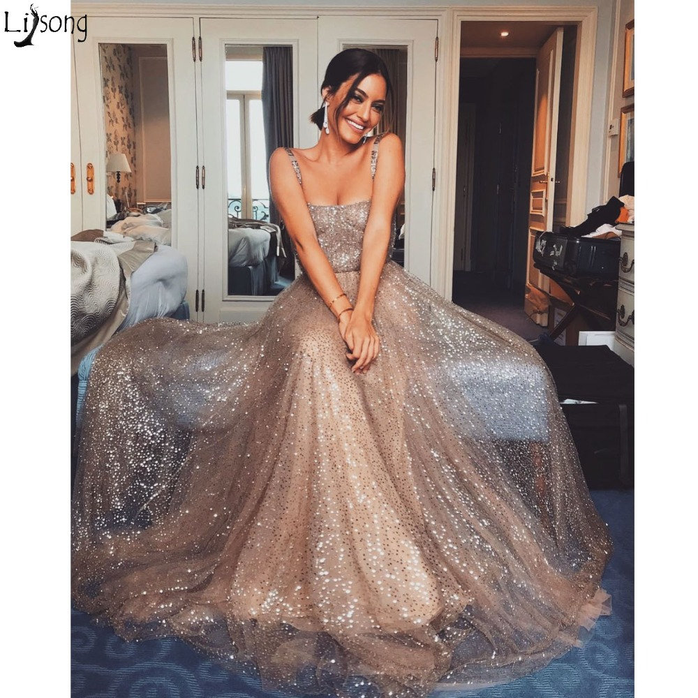 Glitter Sequin Tulle Long   Prom     Dresses   2019 New Spaghetti Strap Square Neck Shiny Evening   Dress   A Line Floor Length Party Gowns