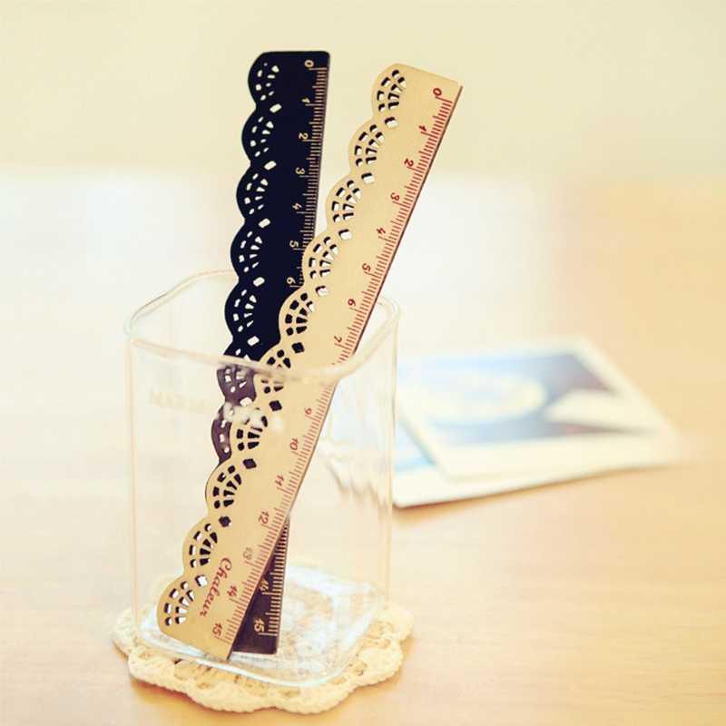 Корея Kawaii кружево деревянная линейка прямая полый студенческий канцелярский измерительный инструмент