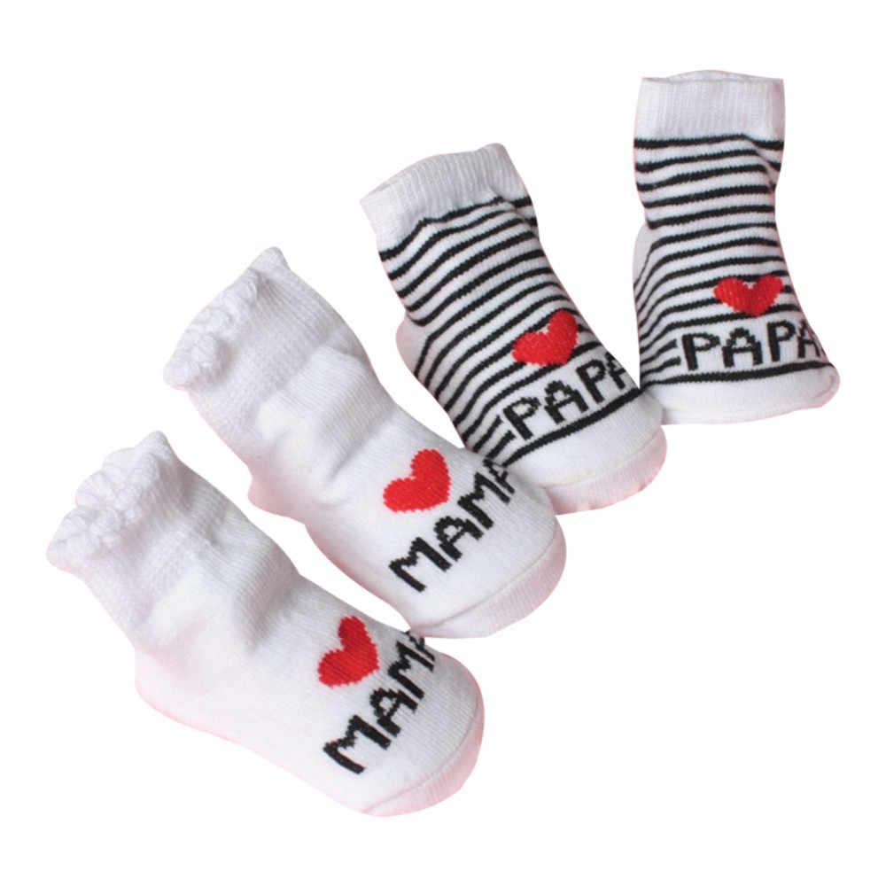 תינוק תינוקות ילד ילדה להחליק עמיד רצפת אהבת אבא אמא מכתב גרביים רך נוח # K10