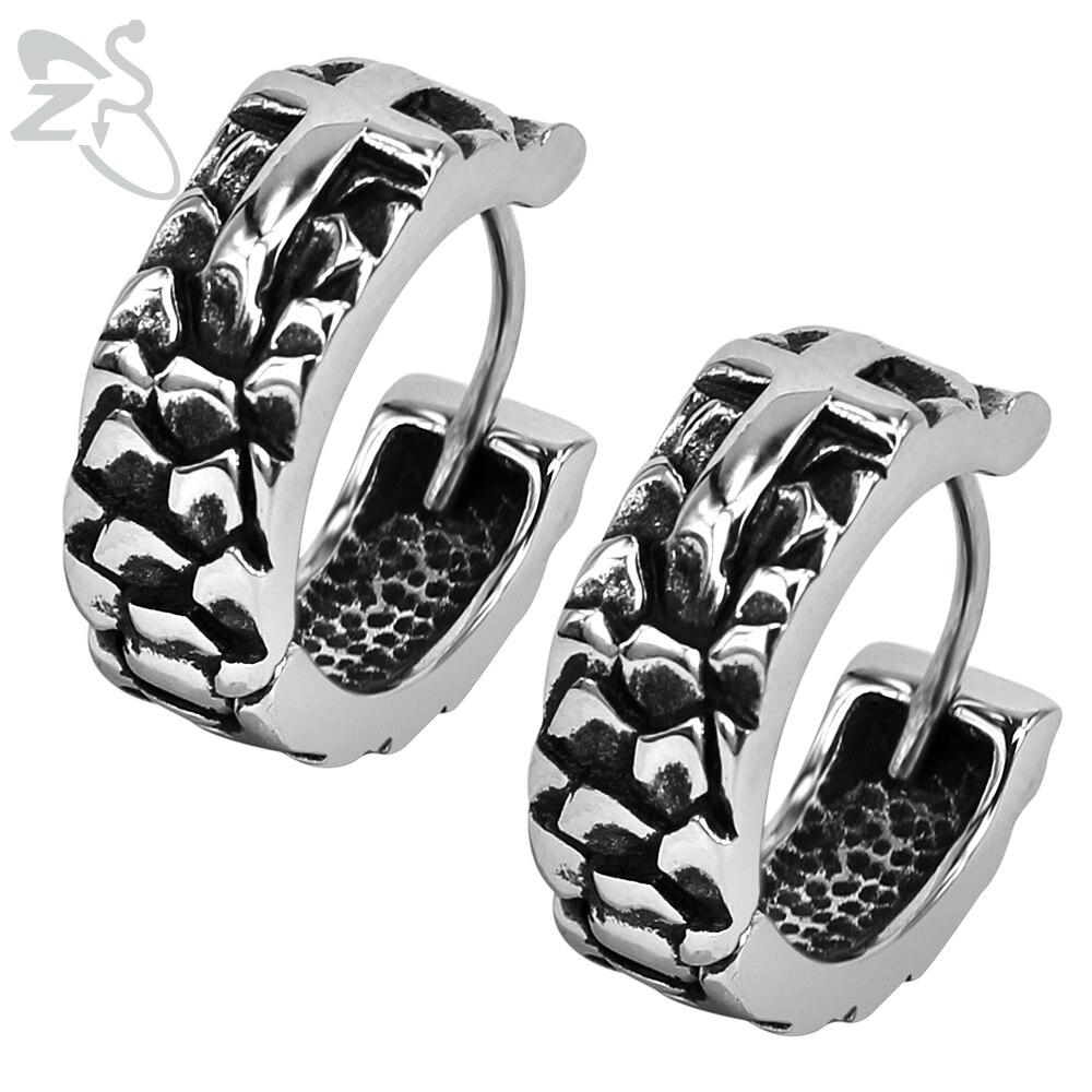 Cross Huggie Earrings Rock Punk Hoop Earrings for Men Women Stainless Steel Unique Biker Round Earring
