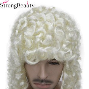 Image 4 - StrongBeauty Synthetic Judge Wig Nobleman Curly Hair Historical Blonde Gray Black Wigs