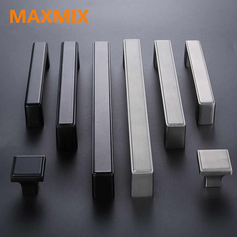 Aluminum Dresser Knobs Drawer Knob Pull  Kitchen Cabinet Handles Pulls   Black Furniture  Door cupboard Wardrobe handle