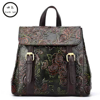 Earth tell women embossed genuine leather backpack mansur lady real leather travel bag, girl retro schoolbag brand designer bags