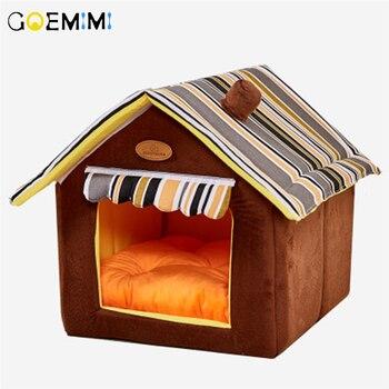 Nova casa forma dobrável pet cat cave casa gato gatinho cama cama cama cama para cachorro macio inverno quente cães canil ninho cão para gatos