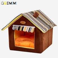 Nueva casa en forma de Casa plegable Para mascotas gato cueva casa gato gatito Cama Para Cachorro suave invierno perros calientes nido perro para gatos