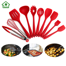 10pc Non-stick Cooking Utensils Set Food Grade Silicone Heat-Resistant Spoon Spatula Pasta Kitchen Tool Set for Baking BBQ
