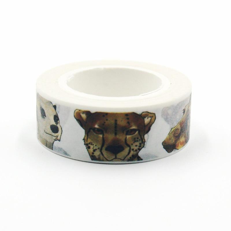 1 PCS Japanese Washi Decorative Adhesive Tape Tiger Elephant Animal Head Portrait Pattern Masking Paper Tape Diary Sticker Gift