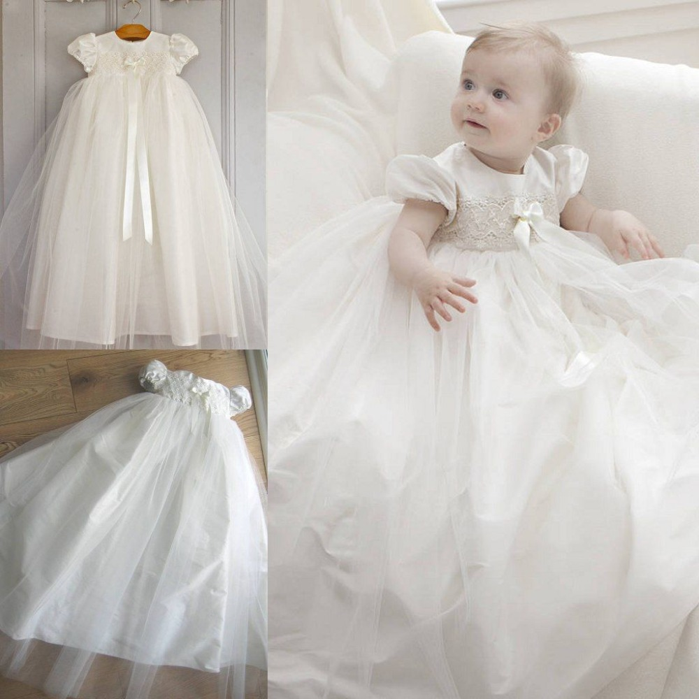 Tulle Baptism Gown Cap Sleeve Lace   Flower     Girl     Dresses   for Wedding Party Christening Custom Made