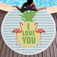 Bath Towel Fashion personality American Wind Circular printed beach towel flamingos microfiber and fringed soft handle
