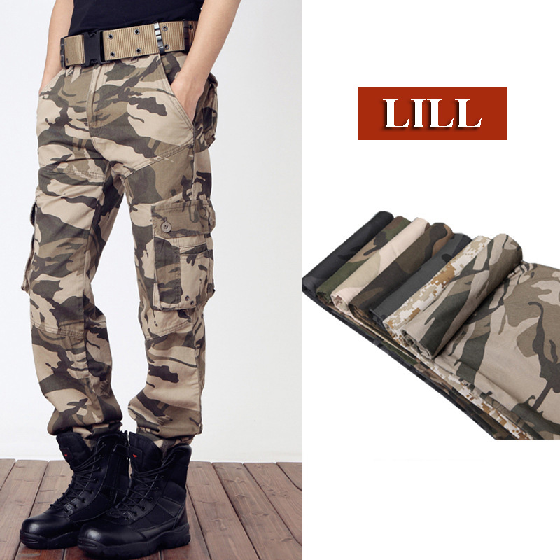 LILLPure Cotton Military Tactical Pants 2017 Spring Army Style Mens Trousers Men Loose Camouflage Cargo Pants Pockets,UMA456