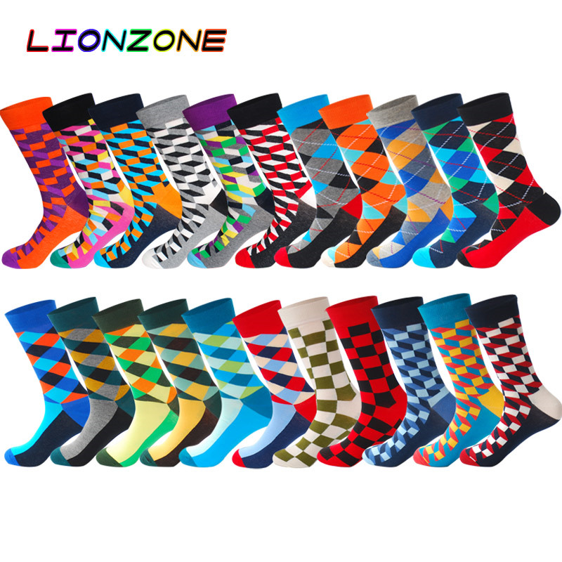 LIONZONE Men's Funny Popsocket Happy Socks Argyle Geometric Diamond Hiphop Skateboard Cotton Calcetines Largos Hombre