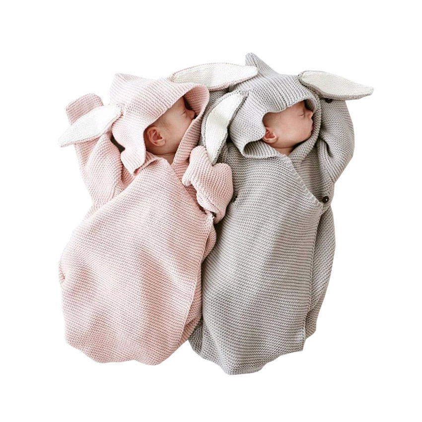 Autumn Winter New Baby Romper Bunny Ears Knitted Baby Sleeping Bag Is Stereo Baby Clothes for Newborns Baby GIFT Clothes|Rompers| |  - title=