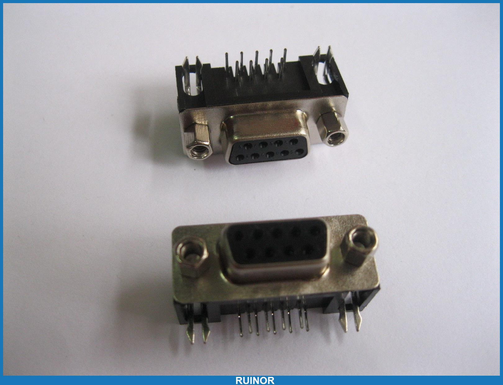 5d751d9a60 ヾ(^▽^)ノ10 pçs lote D Sub 9 pino conector fêmea com ângulo ...