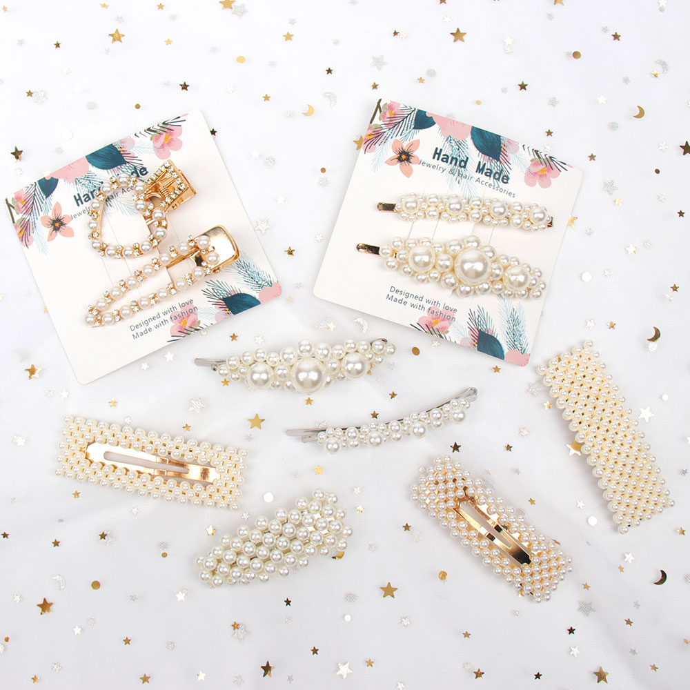 Hair Accessories 2PCS/Set Fashon Full Geometric Pearls Headband For Women Girls Sweet Hairpins Lady Hair Clips Barrettes