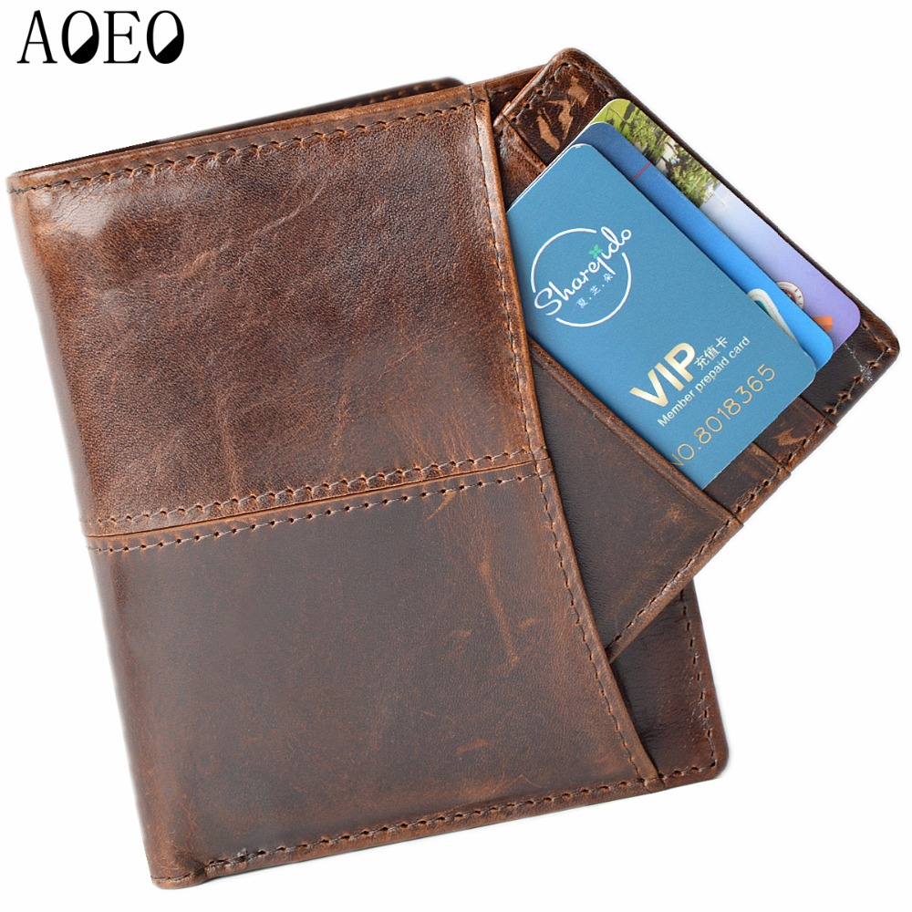 AOEO 2017 top layer Crazy horse leather male purse cow vintage wallets simple luxury men carteira masculina free shipping 2016 hot selling layer crazy horse leather male purse cow vintage wallets simple luxury men carteira masculina m1068