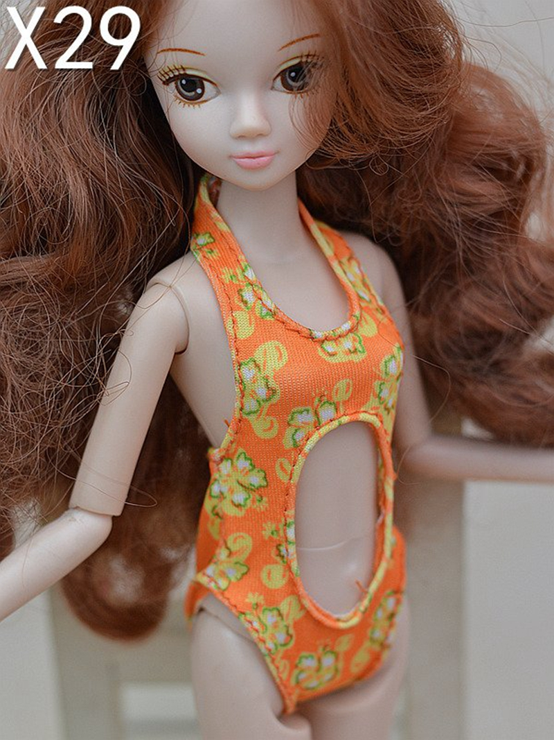 Attractive One-piece Swimwear Seaside Bikini Bathing Swimsuits Garments for Barbie Doll Home For 1/6 BJD Doll Equipment