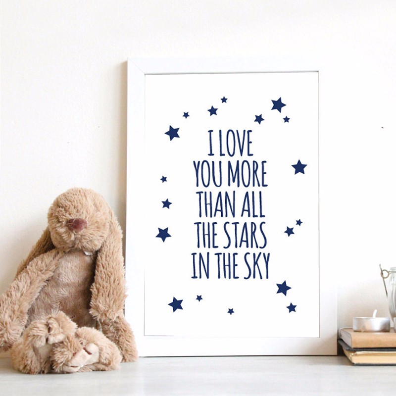 Love You More Wall Art aliexpress : buy nursery quotes i love you more than all stars