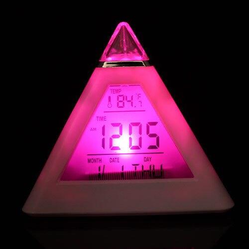Budzik Cyfrowa piramida LED Kolorowy zegar biurkowy Funkcja drzemki - Wystrój domu - Zdjęcie 3