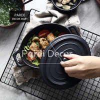 Oval Two ears baking bowl with lid heat resistance Microwave oven Au gratin bowl 1pc/lot