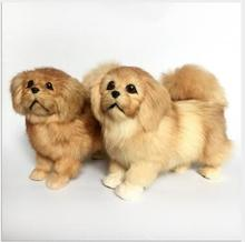 WYZHY  An animal model of dog fur handicraft is presented as a gift for the pekingese   26CMx11CMx20CM