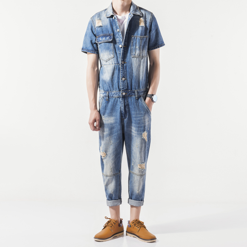 New 2017 men personality hole denim ankle length trousers set personalized vintage jumpsuit overalls M-3XL 2014 new fashion reminisced men vintage trousers casual jeans wash capris pants loose plus size overalls zipper denim jumpsuit