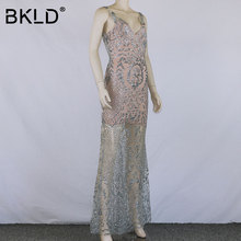 BKLD Elegant Women 2018 New Maxi Evening Party Shiny Sequin Long Dress Backless Sleeveless Sexy See Through Mesh Dress Plus Size