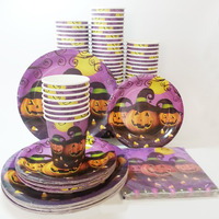 24pcs Set Halloween Disposable Tableware Sets Plates Paper Cups Napkins Paperboard Party Tableware Favor Accessories Supplies