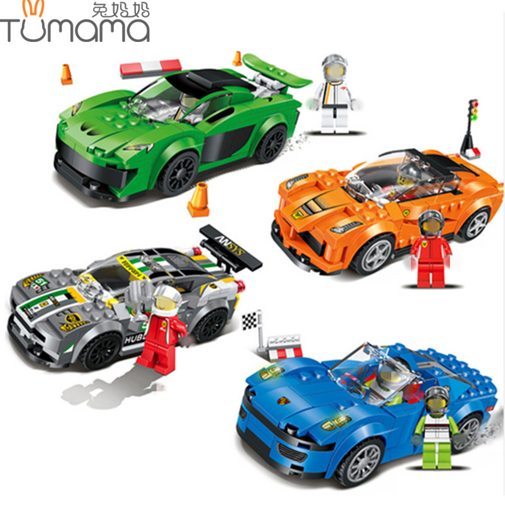 Tumama Racing Car Building Blocks Educational Action Figures Compatible Legoe City Enlighten Bricks Christmas Gift Toys For Kids колодки тормозные ridzel передние pdf2248