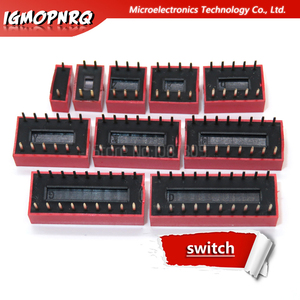 10 шт. модуль скользящего переключателя 1, 2, 3, 4, 5, 6, 7, 8, 9, 10, 12 бит, 2,54 мм, позиционный переключатель с красным шагом, красный переключатель с защелкой