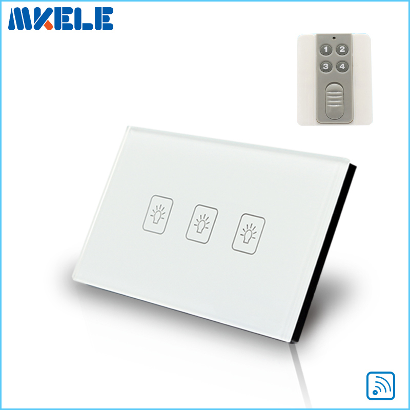 Touch Wall Switch US Standard 3 Gang1 Way Wireless Remote Control Light Switches Electrical China High Quality funry eu uk standard wireless remote control light switches 2 gang 1 way remote control touch wall switch for smart home