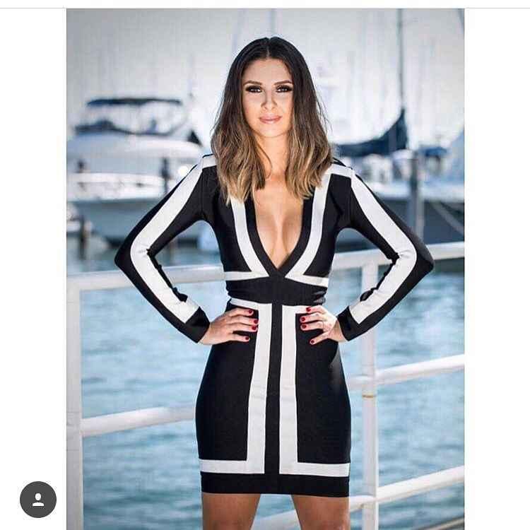 Новый дизайн женское Бандажное платье с длинным рукавом белые и черные вечерние платья в стиле пэчворк сексуальное Глубокий v-образный вырез коктейль со знаменитостями Клубная одежда