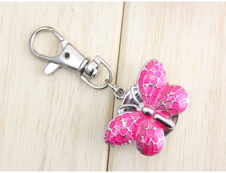 1pc butterfly Quartz pocket watch Movement Keychain Keyring Watch Pocket Watch Round Dial 1pc keychain pocket mini pliers keyring keychain metal adjustable mini vise tool